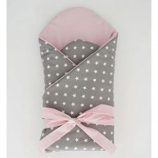 Little Babes Soft Swaddle Wraps-White Stars With Powder Pink
