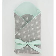 Little Babes Soft Swaddle Wraps-Spotty Grey With Mint