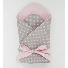 Little Babes Soft Swaddle Wraps-Spotty Grey With Powder Pink