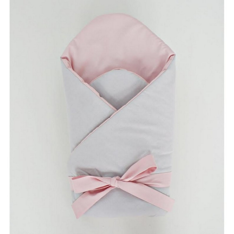Little Babes Soft Swaddle Wraps-Grey With Powder Pink