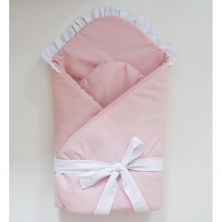 Little Babes Soft Swaddle Wraps-White With Powder Pink