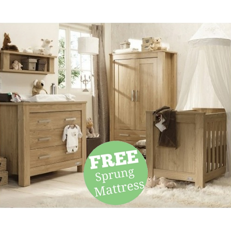 BabyStyle Bordeaux 4 Piece Room Set-Oak + Free Sprung Mattress Worth £79!