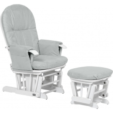 Tutti Bambini GC35 Recliner Glider Chair & Stool-White With Grey Cushion