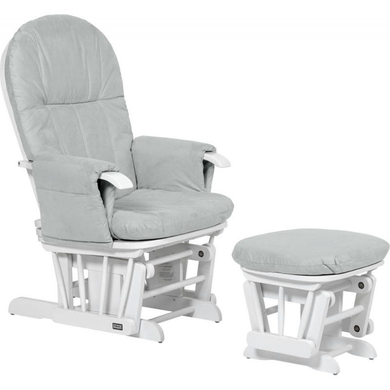 Tutti Bambini GC35 Recliner Glider Chair & Stool White With Grey Cushion
