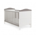 Obaby Whitby Cot Bed-White with Taupe Grey