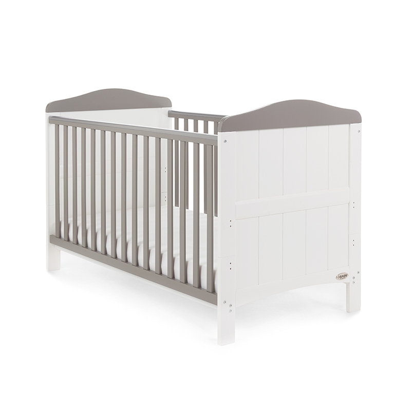 Obaby Whitby Cot Bed-White with Taupe Grey + FREE Obaby Foam Mattress Worth £39.99!
