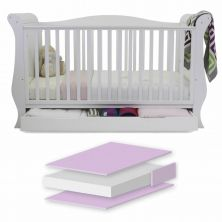 BabyStyle Hollie Sleigh Cot Bed With Underbed Drawer-Fresh White + Free Foam Mattress!