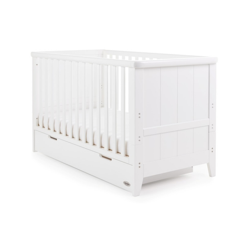 Image of Obaby Belton Cot Bed Inc Underbed Drawer-White