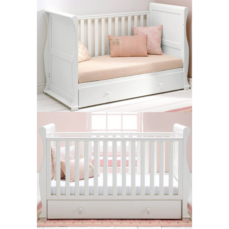 East Coast Alaska Sleigh Cot Bed-White + Half Price Mattress Deal!