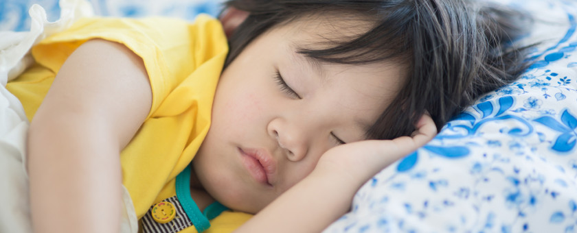 Young child getting into a good sleep routine