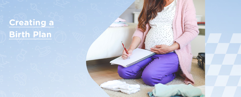 Mum writing her birth plan ahead of her baby's arrival