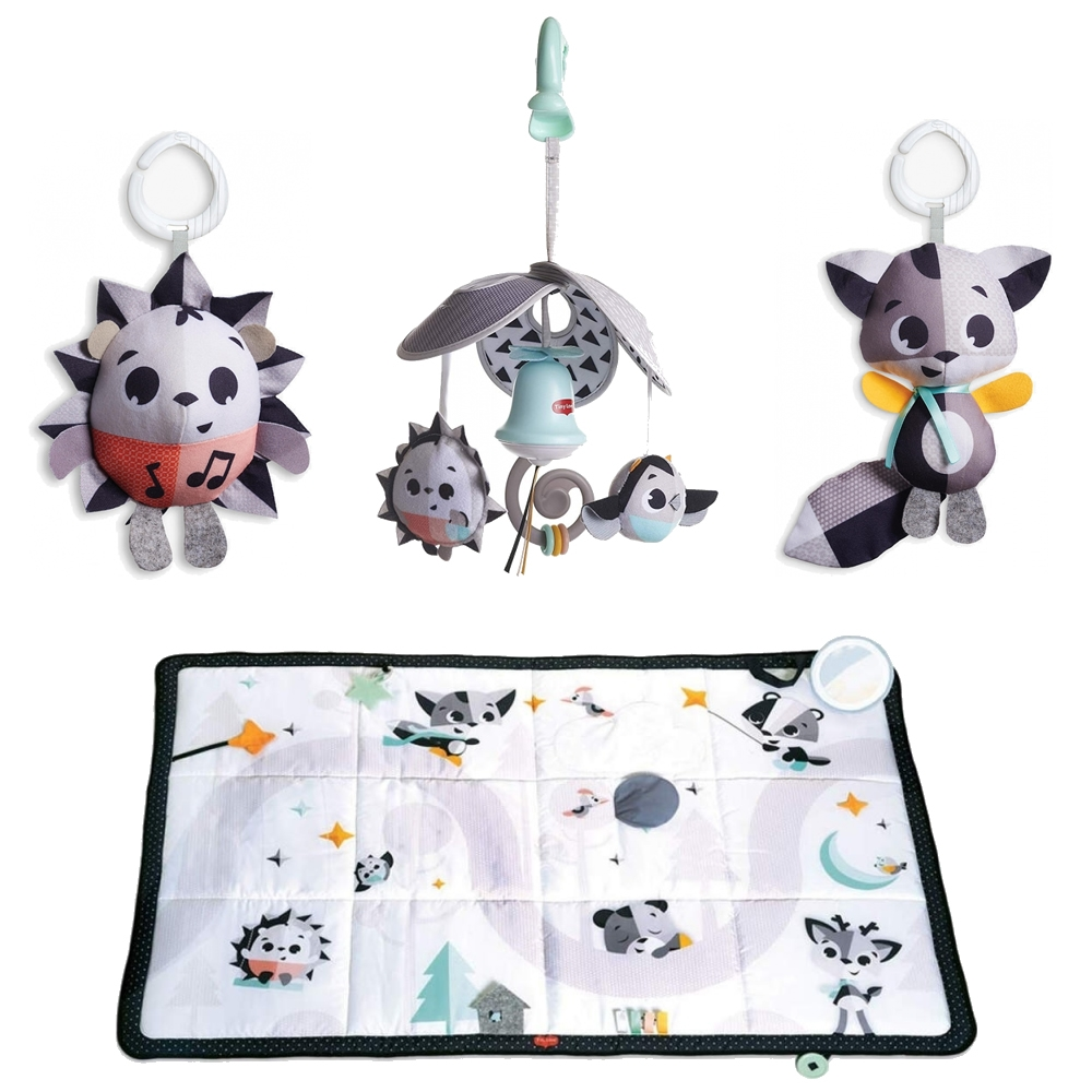 Tiny Love Black & White Super Mat With Mini Mobile & Toys-Magical Tales