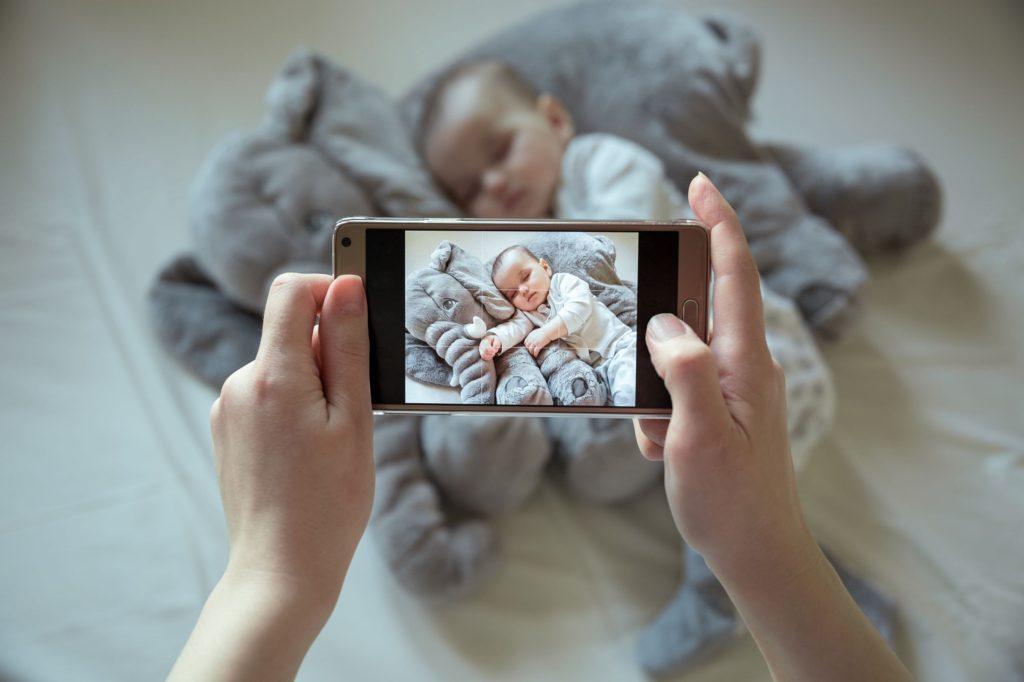 Newborn baby having a photo taken