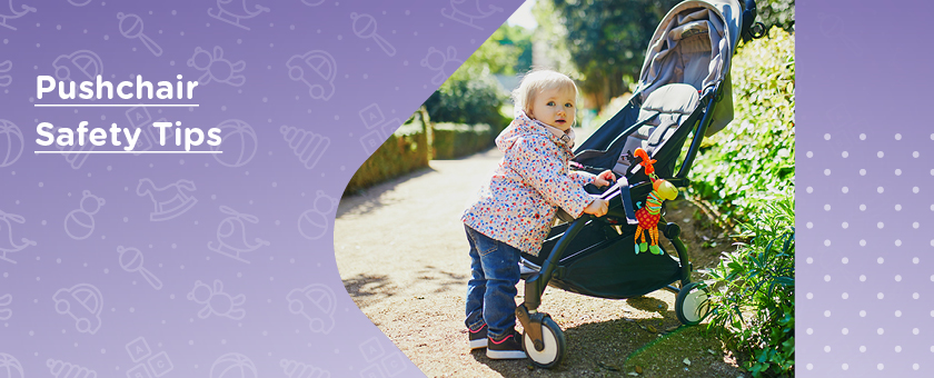 Pushchair Safety Tips - Image of little girl stood against pushchair