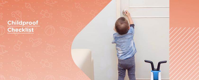 Snooping child reaching to open door