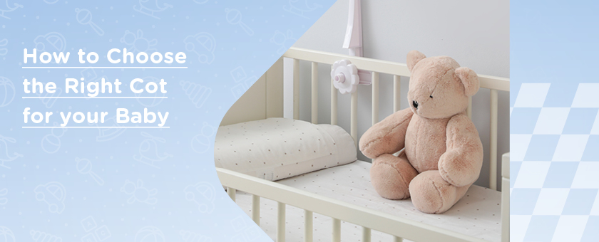 Teddy bear placed in white cot