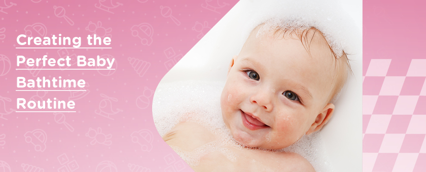 Happy baby with soapy suds on head